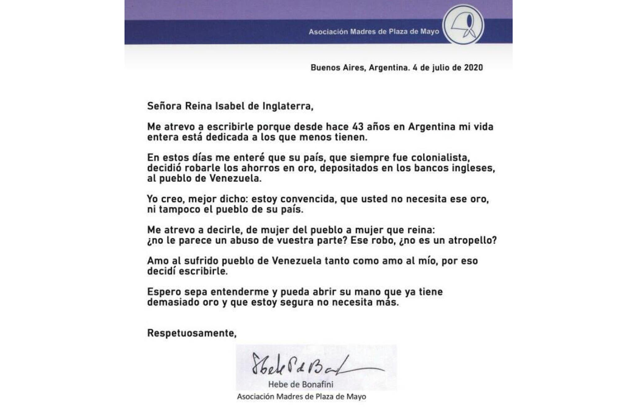 Oro de Venezuela: Hebe de Bonafini le mandó una dura carta a la Reina de Inglaterra