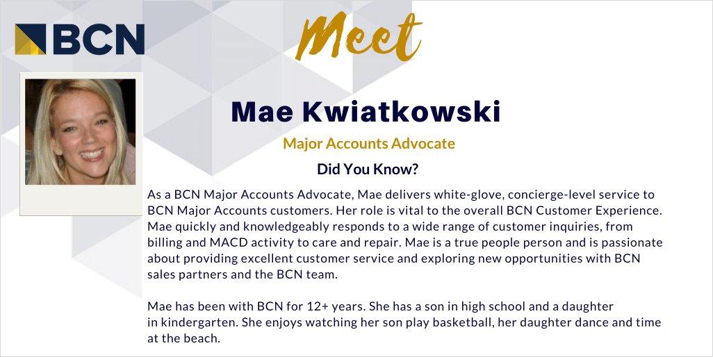 Meet BCN team member, Mae Kwiatkowski! As a BCN Major Accounts Advocate, Mae delivers white-glove, concierge-level service to BCN Major Accounts customers. #customerexperience #bcnteam #technologysolutions #cxpic.twitter.com/IVFA25UdZj
