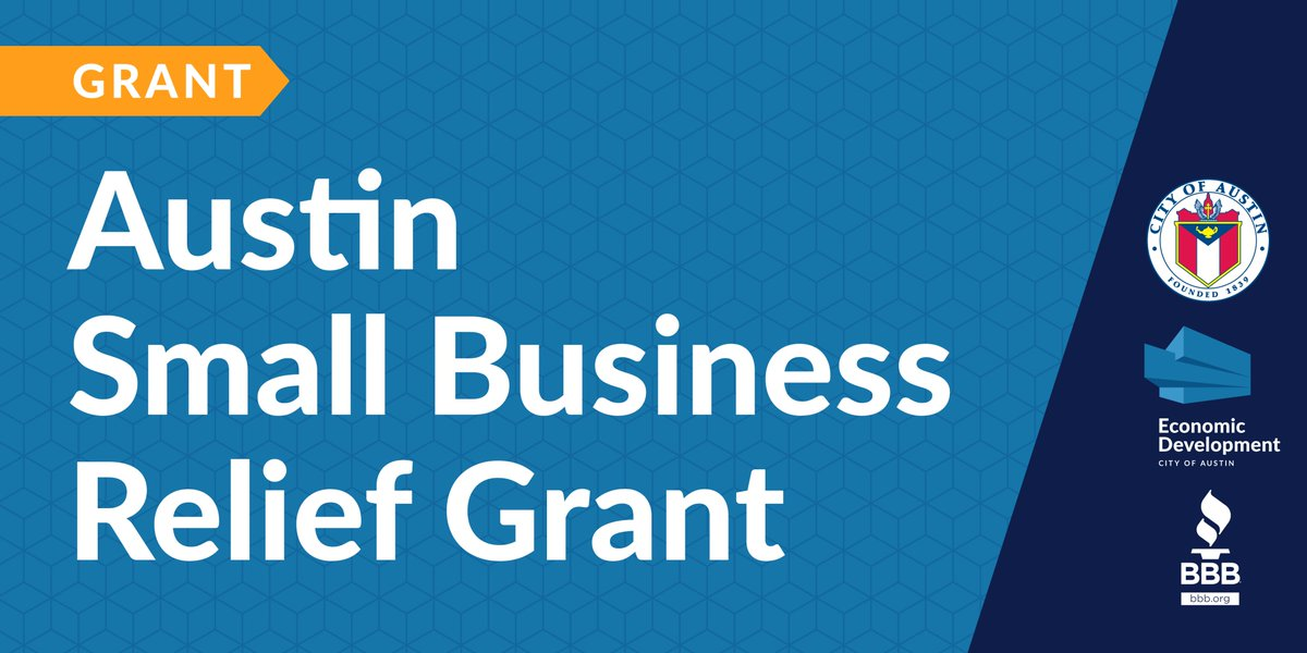 RECOVERY $$ @austintexasgov has partnered with @CentralTexasBBB to launch the Austin Small Business Relief Grant to help #smallbiz affected by #COVID19 up to $40k.  💰 $16.5M in total grant funds 🔎 Review eligibility + Submit application by July 24 📌 https://t.co/0gbTWJGkIM https://t.co/PA7t4QigJK