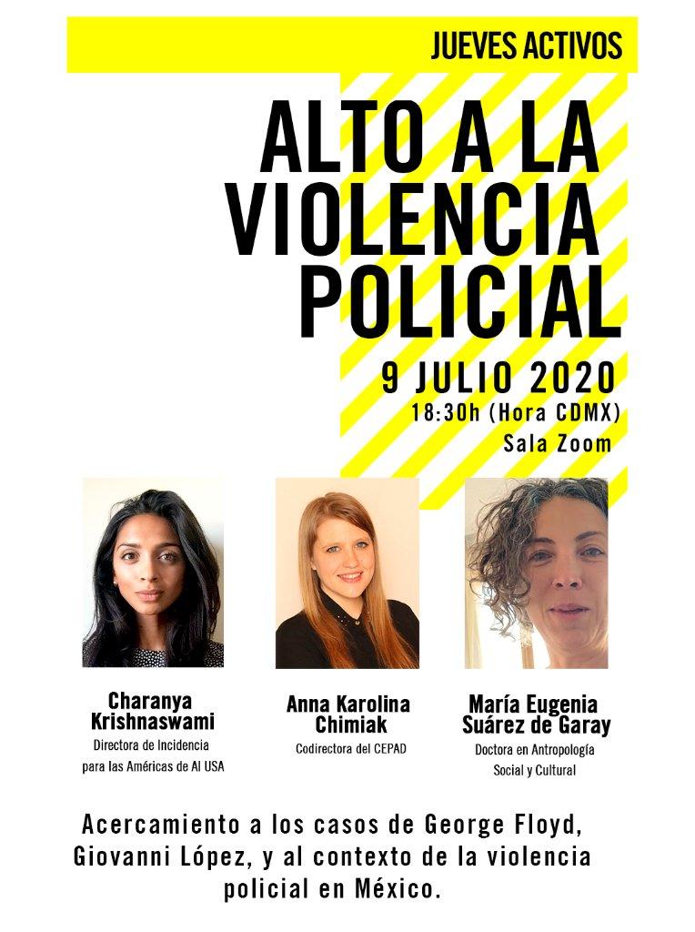 En nuestra próxima sesión de #JuevesActivos hablaremos sobre la violencia policial. 🚓 🚨   ¡No te lo puedes perder!  Regístrate aquí para obtener el enlace a Zoom: https://t.co/KxFePrxAau 👈 https://t.co/OLFMYPym4M