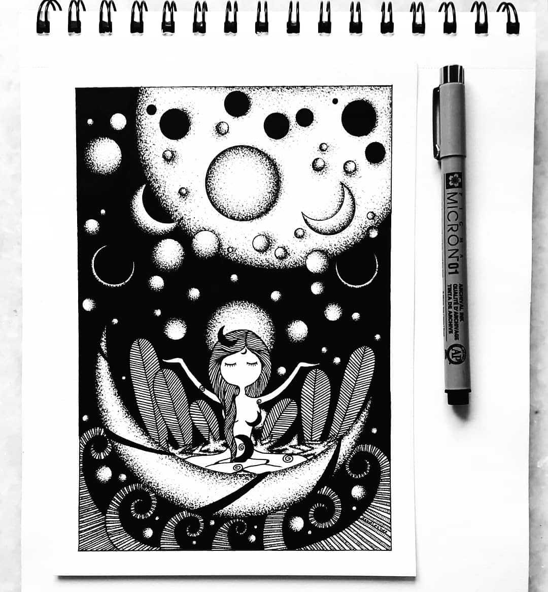 Inktober Prompt 25 - #Lunar Oh, when I saw her shining in the darkest night sky.. With an aura that lit up my entire Universe.. I finally knew I belonged. #Doodleebee #inktober2020 #inktober52 #inktober #moon #artwork #doodle #artpic.twitter.com/MBI7MA9pvl