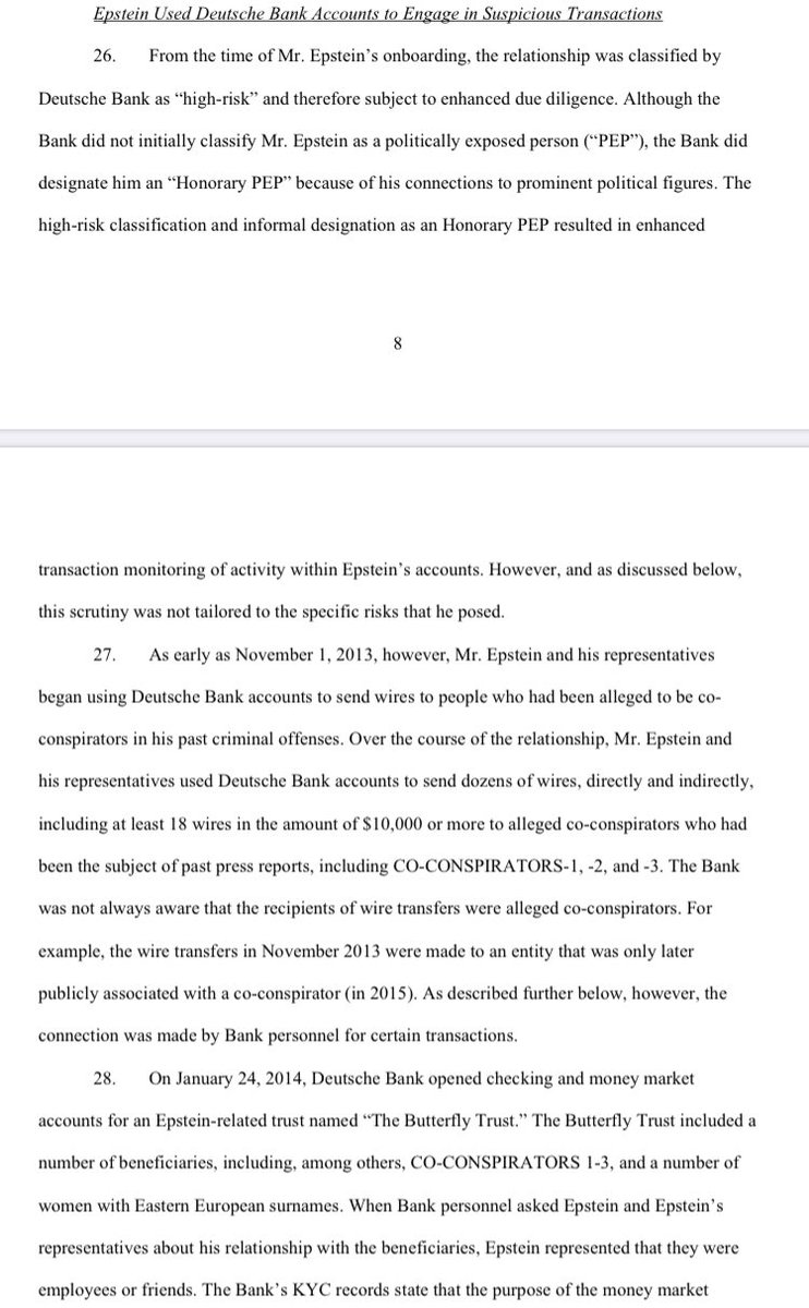 """New York DFS has published its investigative findings on Jeffrey Epstein's relationship with Deutsche Bank.   DB has agreed to pay a $150 million penalty for """"significant compliance failures.""""  Press release: https://t.co/HxdUXOoqho Consent order: https://t.co/RMJKKsXlhE https://t.co/QMcRUlnIGx"""