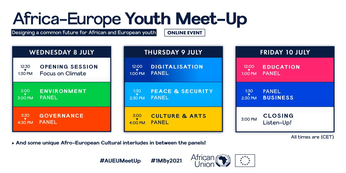 From climate action, environment, good governance, digitalisation, peace and security, education, to culture and arts. The #AUEUMeetUp is going to be 3 days of brainstorming led by #youth. Join #AUEUYouthHub live to be part of the debate ➡️bit.ly/3iCUeBP #1mBy2021