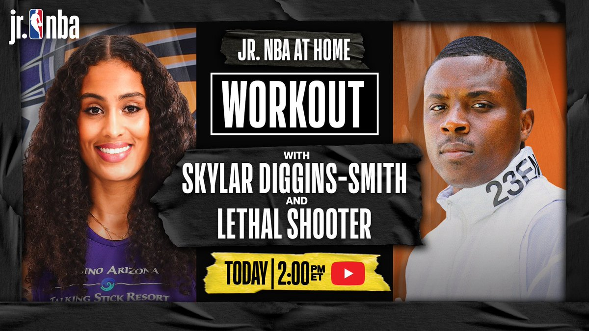 RT jrnba: Who wants to get some 🏀 work in⁉️   Tune into #JrNBA Youtube TODAY at 2 pm/et for a #JrNBAatHome workout with PhoenixMercury guard SkyDigg4 and LethalShooter__‼️ 🔥 💪 https://t.co/6uFGDWGfNS https://t.co/ynZSz10wnG #NBA