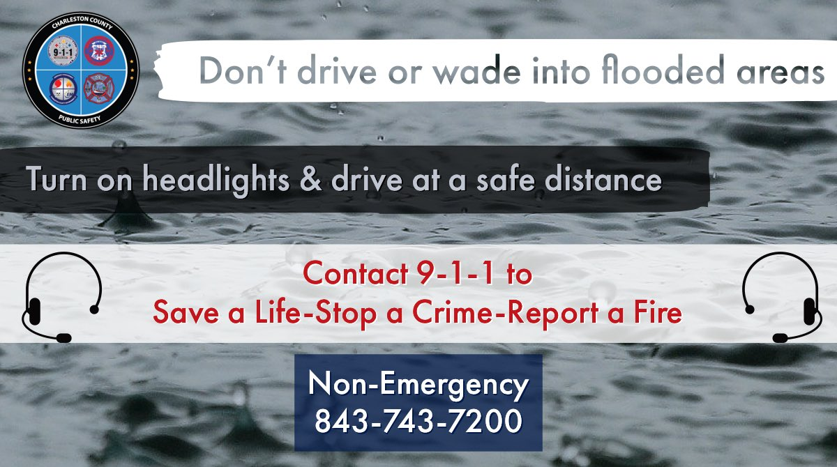 It's a rainy day, @NWSCharlestonSC says it will rain all day. 🌧   🚘Follow at an increased distance, turn on your headlights & slow down & do no drive/wade into flooded areas.  Contact 9-1-1 to Save a Life👨🏾‍⚕️ Stop a Crime👮🏼 Report a Fire👩🏿‍🚒  #ChsWx #ChsNews https://t.co/5OfEkLwLFU