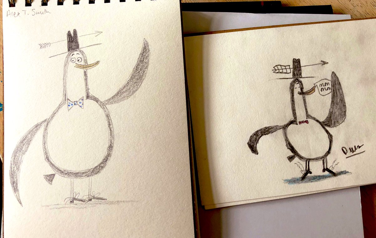 Our first @Alex_T_Smith drawings, as part of #CressidaSummerCamp @Booktrust