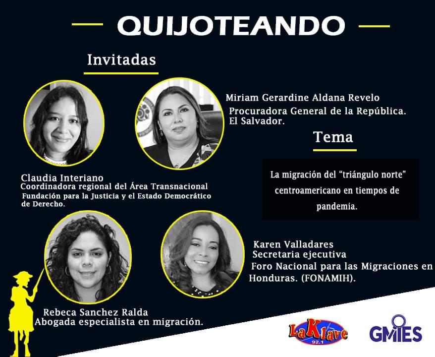 """Atención El Salvador 🇸🇻  Esa tarde @clau_interiano nos hablara de la población migrante desaparecida en la región, sus riesgos en el tránsito y los retos institucionales frente a la impunidad  #Programa🎙️ """"Quijoteando"""" 92.1 fm de Radio La Klave o en https://t.co/6s9ksysGUB 3pm https://t.co/jJ9JAUzCle"""