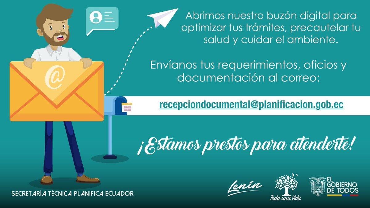 En #PlanificaEcuador fomentamos la optimización de trámites a través de los medios digitales.  Tu documentación y requerimientos los recibimos con todo gusto a través del correo recepciondocumental@planificacion.gob.ec https://t.co/HKdCE7WI5F