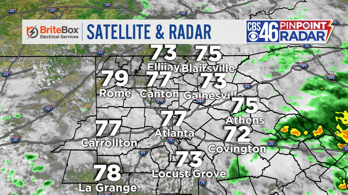 10:30 am - Pinpoint radar is quiet, but that will likely change this afternoon as more downpours develop. Check in with @wxmolly on @cbs46 at noon, and I will see you again at 4:30 am Wednesday. Have a great afternoon!  #cbs46 https://t.co/XvWGdqi0oS