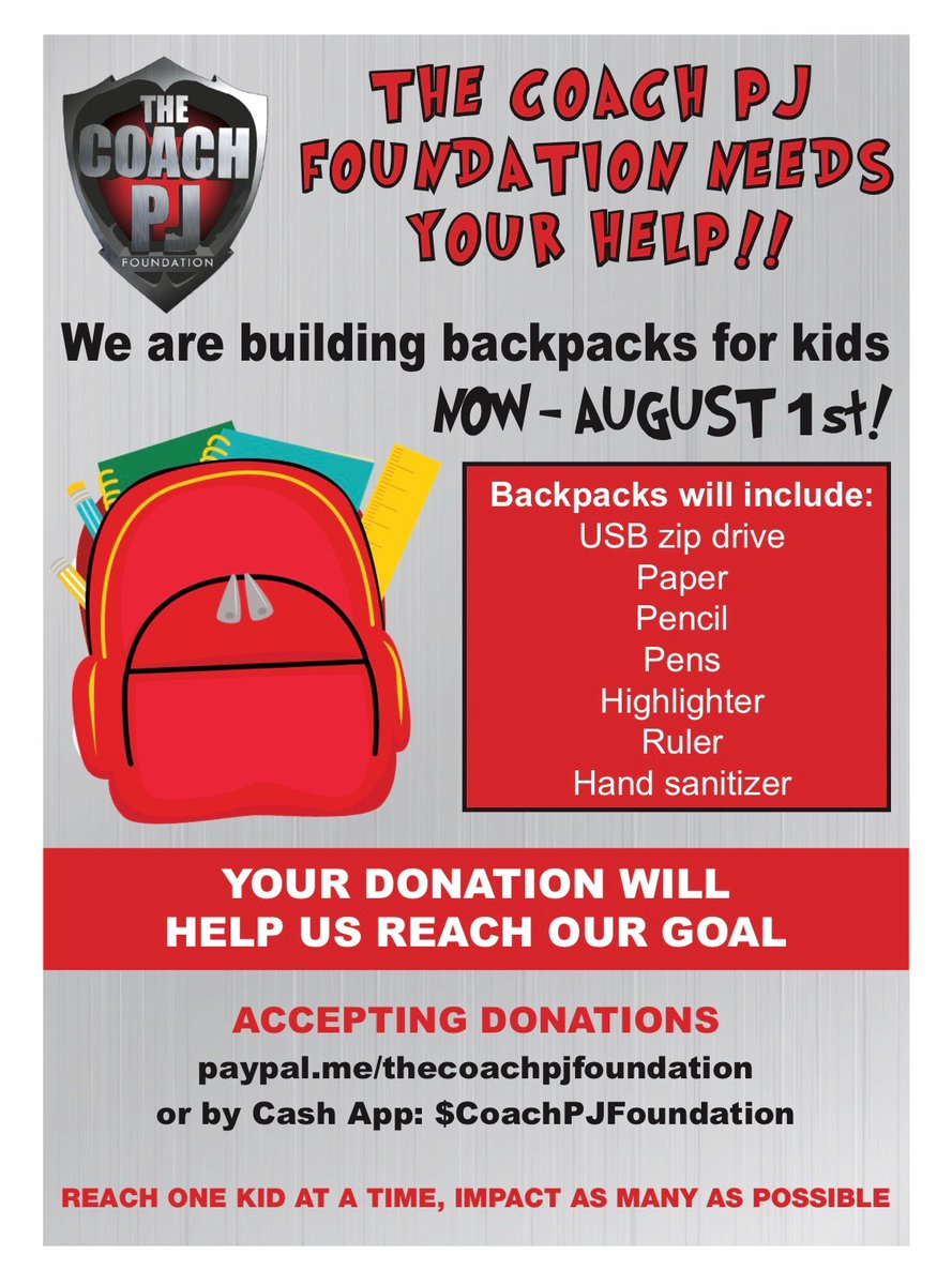 Please consider helping the Coach PJ Foundation in their efforts to help students get ready for returning to school this fall.pic.twitter.com/2BtDq8H9mj