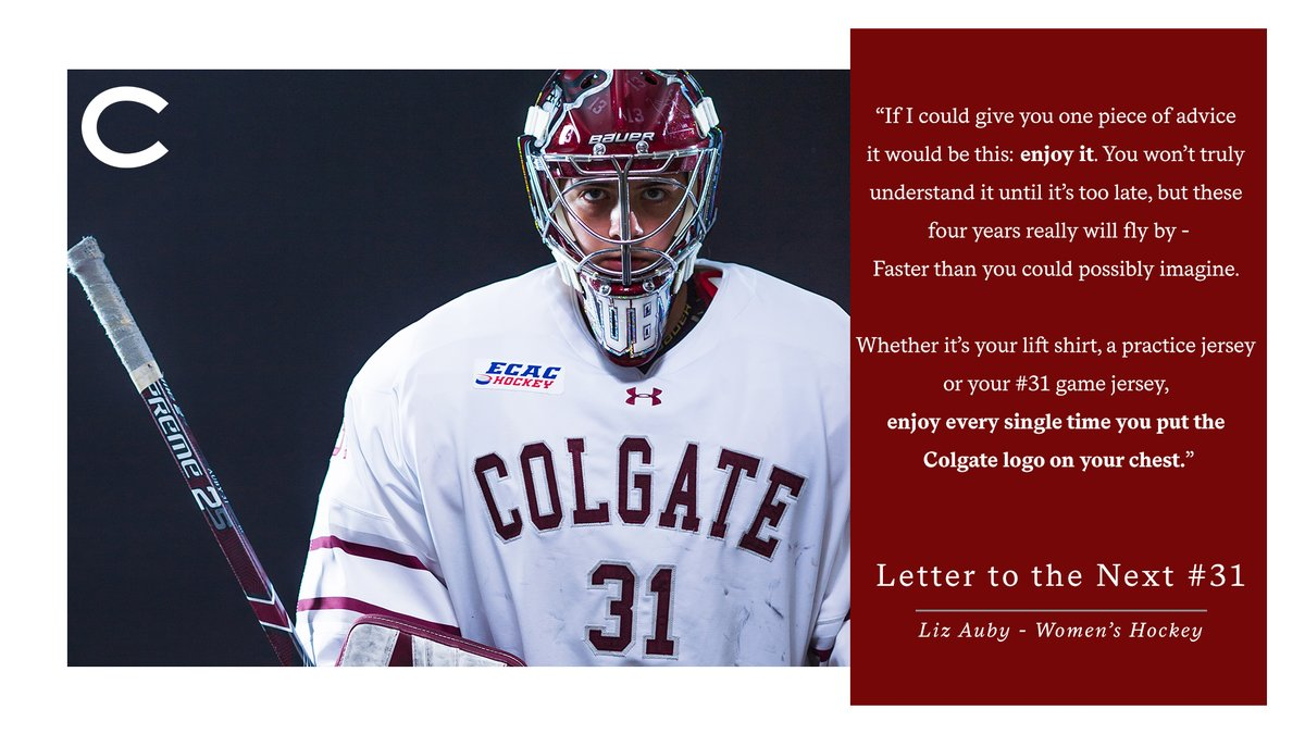 Liz Auby etched her name in the record books and was a part of a national championship run for @ColgateWIH.   Now she shares words of wisdom in her Letter to the Next #31.   READ http://adobe.ly/2BJGtRo  #GoGatepic.twitter.com/jyAdvFGTpZ