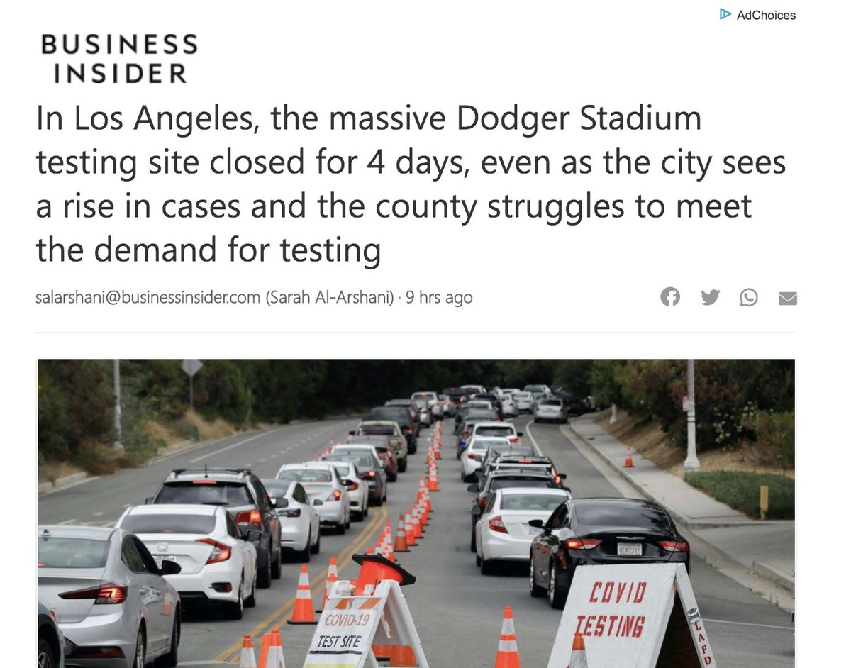 There's no cleaner indicator of the priorities of LA's ruling class than shutting down the largest COVID testing site in LA so the Dodgers could play an intramural game. https://t.co/5jpVuNB1nU