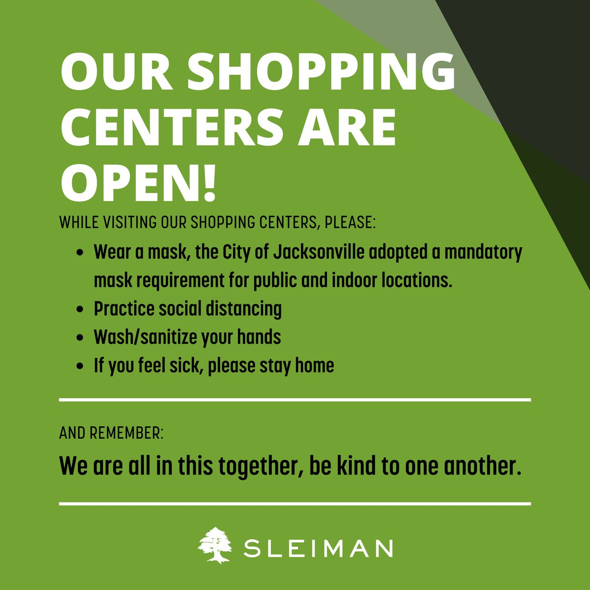 The health and safety of our customers, tenants, employees and communities remains our #1 priority. #sleiman #sleimanproperty #jax #jacksonville #business #jaxfl #florida #realestate #retail #leasing #commercialrealestate https://t.co/ccygYQjU8n
