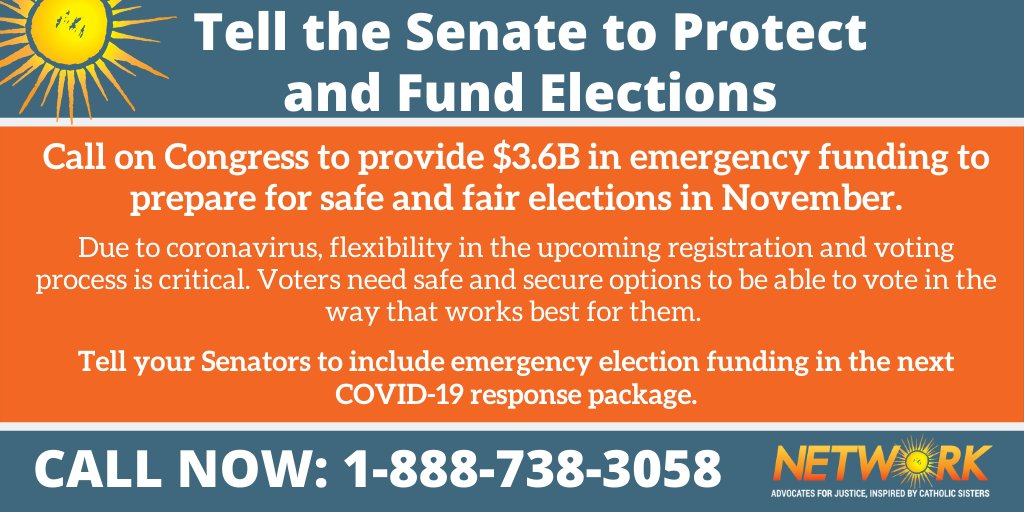 Voters need access to safe and secure voting. Call your Senators NOW and tell them to include emergency election funding in the next COVID-19 response package. https://t.co/Wbrp8C2rah