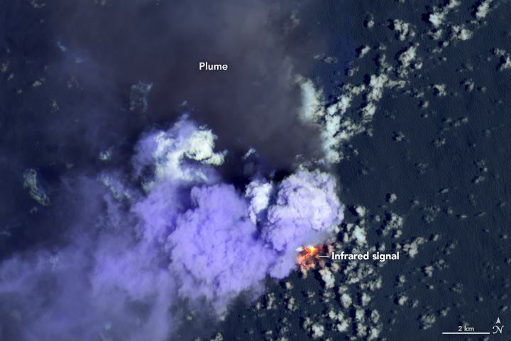 This false-color Landsat image reveals the heat signature of erupting lava and the relative coolness of the dark ash plume. The purple clouds close to the island could be steam from the volcano or from lava vaporizing seawater.
