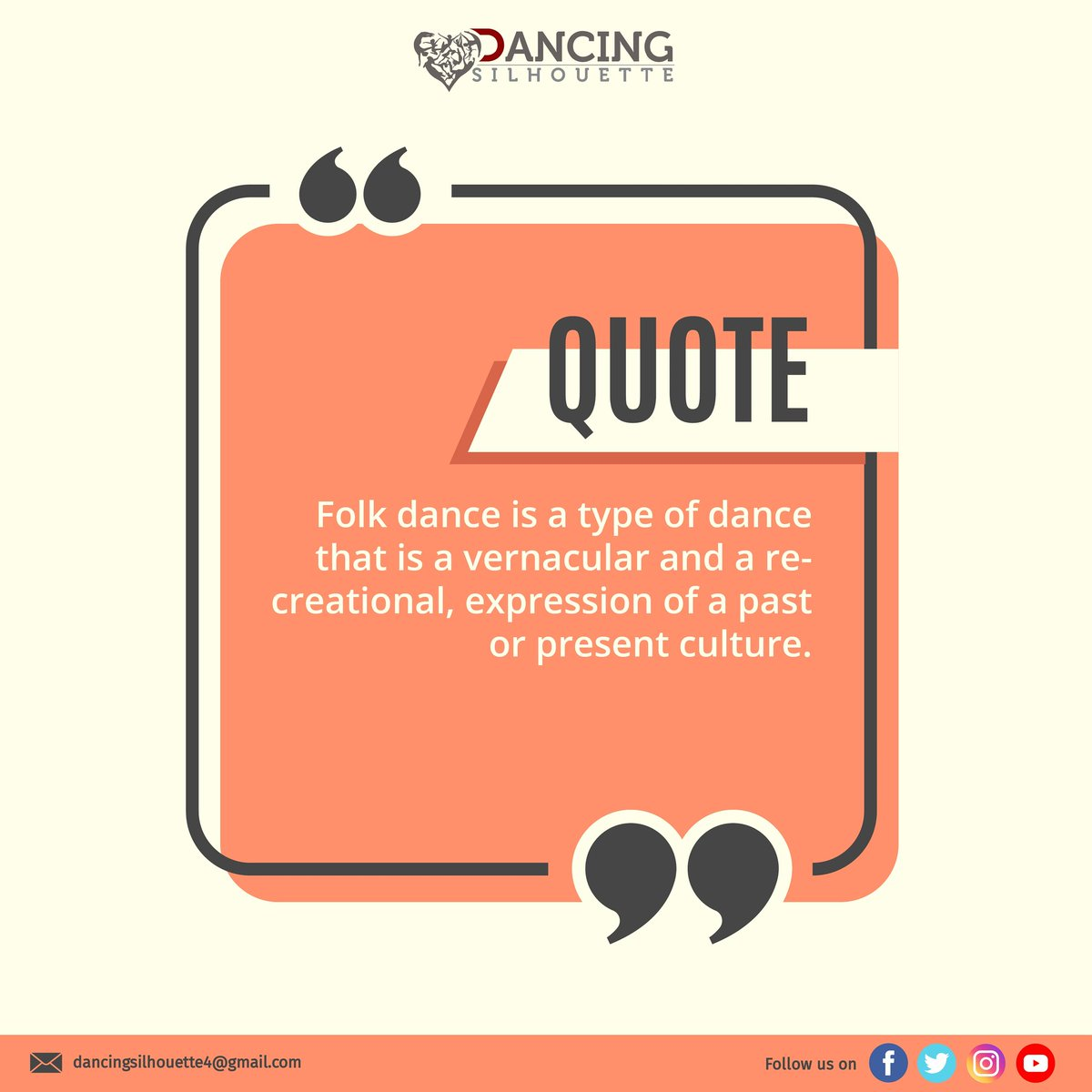 Did you know? Folk dance is a type of dance that is a vernacular and a recreational, expression of a past or present culture. . . Follow our YouTube channel for more updates. https://www.youtube.com/channel/UCNLRuKNkB7Eu-YN9A0hCIPg … For any queries contact - dancingsilhouette4@gmail.com . . #folkdance #dancefactspic.twitter.com/Vz8h9OXdpv