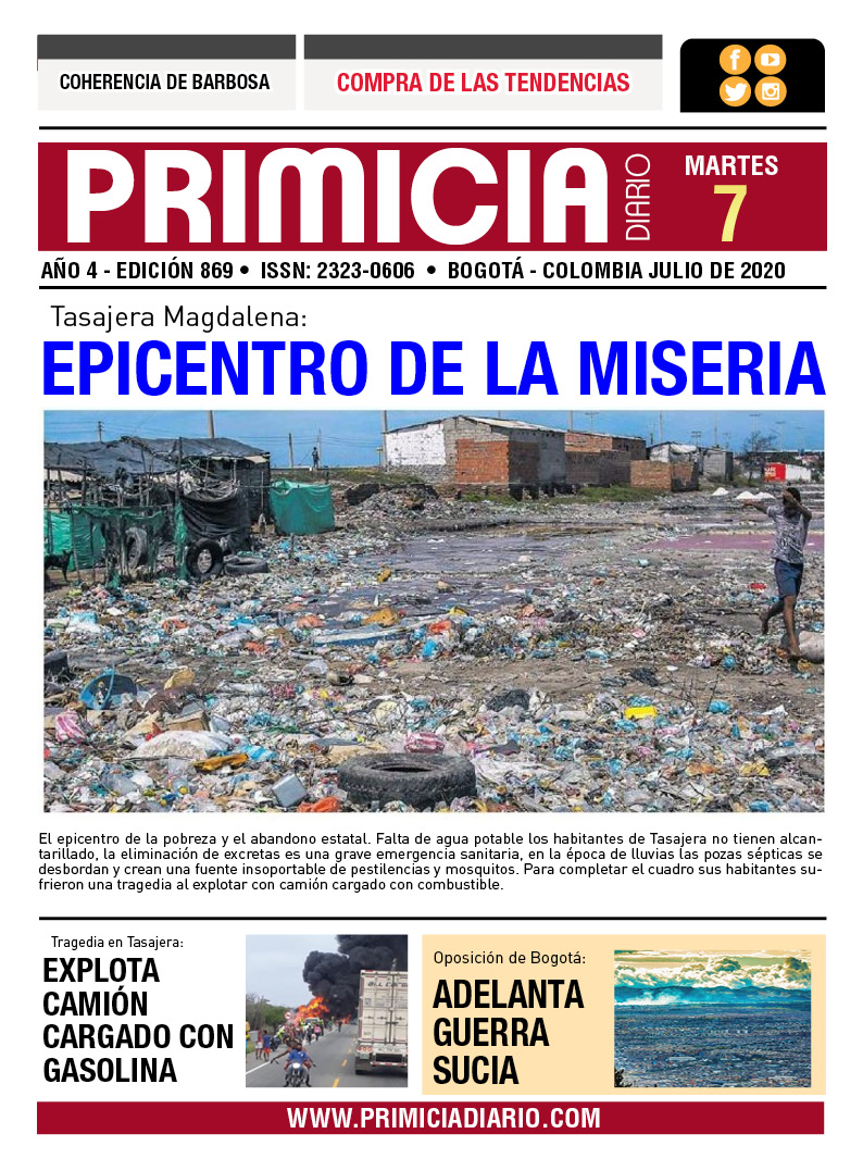 PRIMICIA DIARIO EDICIÓN 7 DE JULIO 2020   https://t.co/uzm0ZGMLNg  #AutopistaNorte #irresponsables  #MarioPicazoAlpes? #tendencia  #EstudiaEnElSENA #Mesías #COVIDー19 · #Ayer #Julito #Mondongo #PicoYCédula #Mundo  #juandeDiosPantoja  #Colombia  #RodolfoHernández #COVID__19 https://t.co/LsuL8wVGOp
