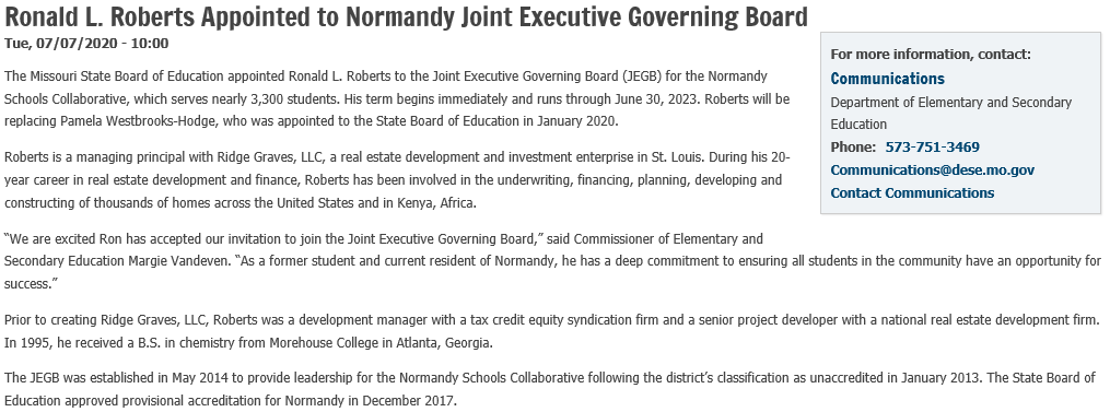 NEWS: Ronald L. Roberts Appointed to @NormandySC1 Joint Executive Governing Board #ShowMeSuccess