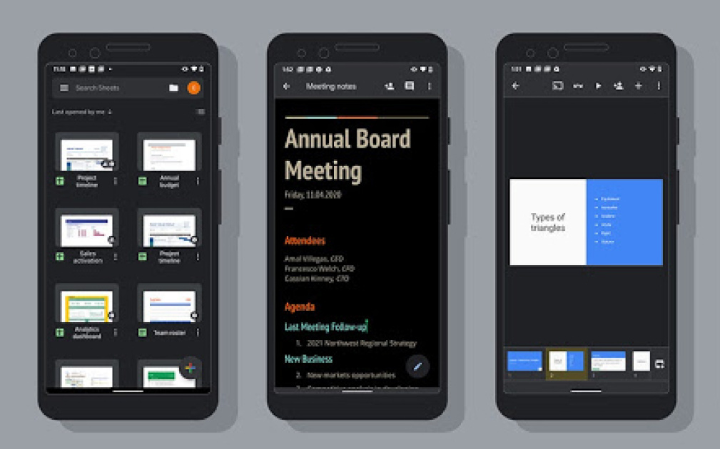 Google brings dark mode to Docs, Sheets and Slides on Android
