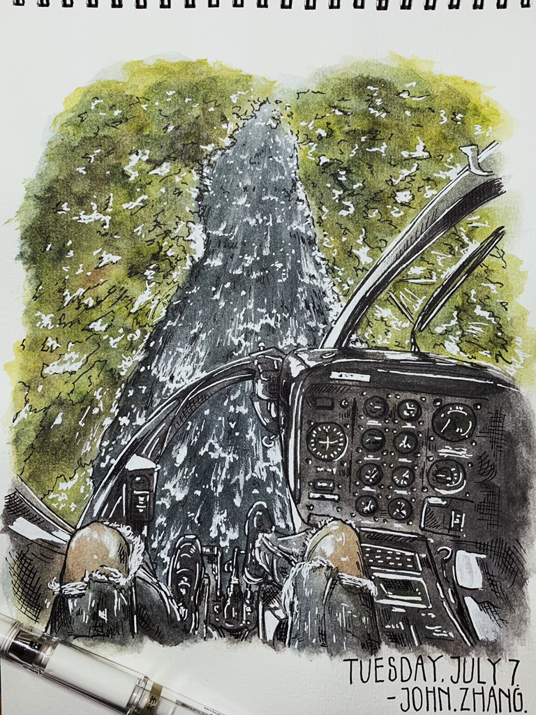 Tuesday, July 7 Helicopter moment  Nature beauty as always   #lake #sketch #watercolor #painting #drawing #watercolorpainting #color #travel #travelart #illustration #sketchbook #forest #foggy #journey #likeforlikes #illustrationartists #helicopter #beauty #nature #planeview https://t.co/p9uABymQh2