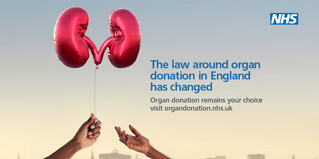 #OrganDonation law in England has now changed, but you still have a choice about whether or not to become a donor when you die. It only takes a couple of minutes to record your decision on the NHS Organ Donor Register: bit.ly/2GVFdJK