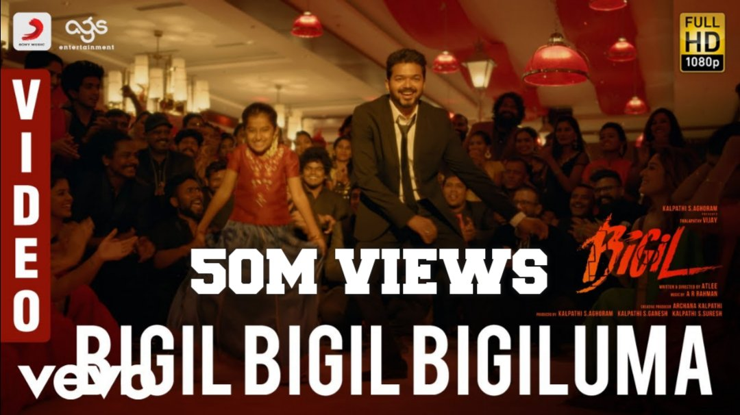 Massive 50M Views For #BigiluBigiluBigiluma Videosong    Watch https://youtu.be/wHhUta4UAq0   #ThalapathyVijay #Thalapathy #Bigil #LadySuperStar #Nayanthara #Masterpic.twitter.com/jYbpqQCsSD
