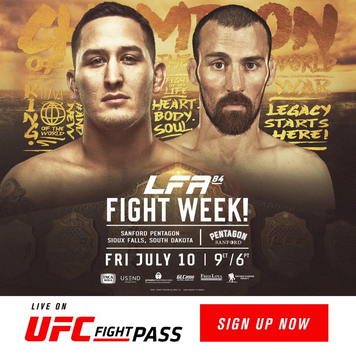 It's #FightWeek and @LFAfighting brings the #Featherweight Championship to #SouthDakota at #LFA84! 🏆  @JTrain_1991 vs.  #JakeChilders  Friday, July 10 @SanfordPentagon #SiouxFalls, #SouthDakota  #MMA #LFANation @UFCFightPass https://t.co/xp82GSdHRY