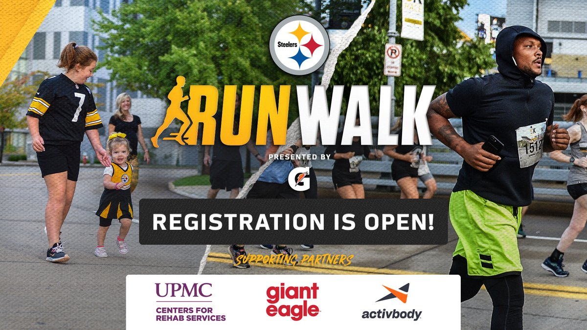 Join fellow #Steelers fans and show off your love for the Black & Gold — even if you aren't in Pittsburgh — by participating virtually in the #Steelers Kickoff Run and Walk this summer! #SteelersRunWalk Register now: bit.ly/2VV90KE | @GiantEagle