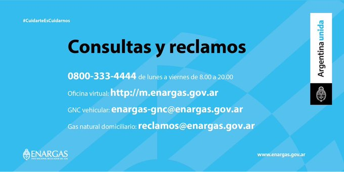 #BuenMartes | Es el momento de cuidarnos. ENARGAS está de guardia para cuidarte, vos quédate en casa.   ☎️0800-333-4444   🧑💼https://t.co/WwV4TN321e  📩enargas-gnc@enargas.gov.ar 📩reclamos@enargas.gov.ar  #CuidarteEsCuidarnos               #ArgentinaUnida  @FBernalH https://t.co/Q6asVKguJL