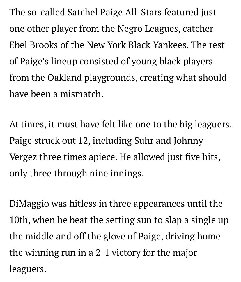 """DiMaggio hit a weak single up the middle in the TENTH inning off Paige and scouts were like """"Whoa nelly that kid's the real deal!""""   Paige didn't play in the MLB for 12 more years after this. https://t.co/5ebT5MlUo8 https://t.co/aZqylP6E6X"""