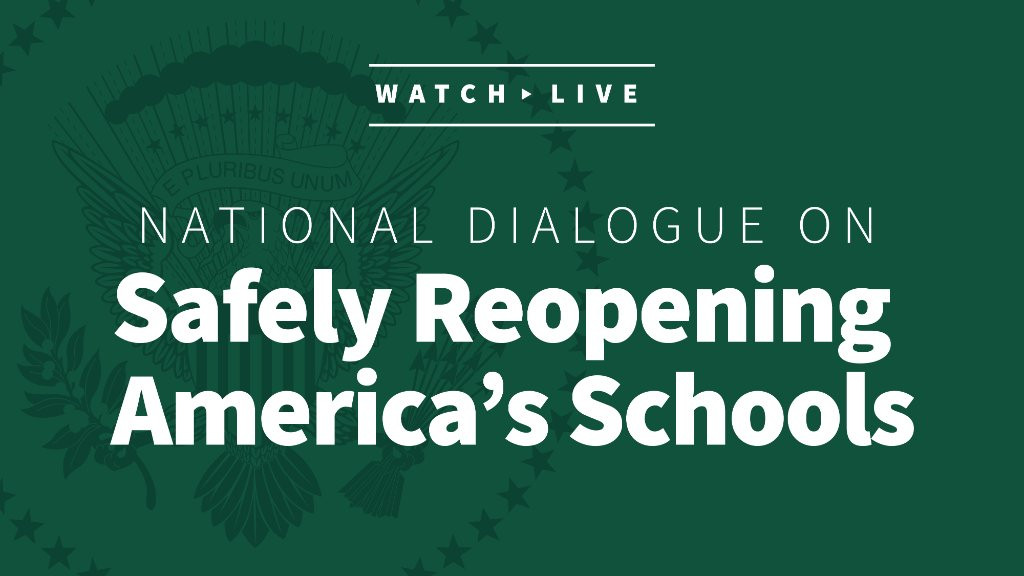 Today at the White House, we're hosting a National Dialogue on Safely Reopening America's Schools.   Watch the full event online, beginning at 12:15 p.m. ET! https://t.co/EmsdctGWtd https://t.co/JTtcpOSKQh
