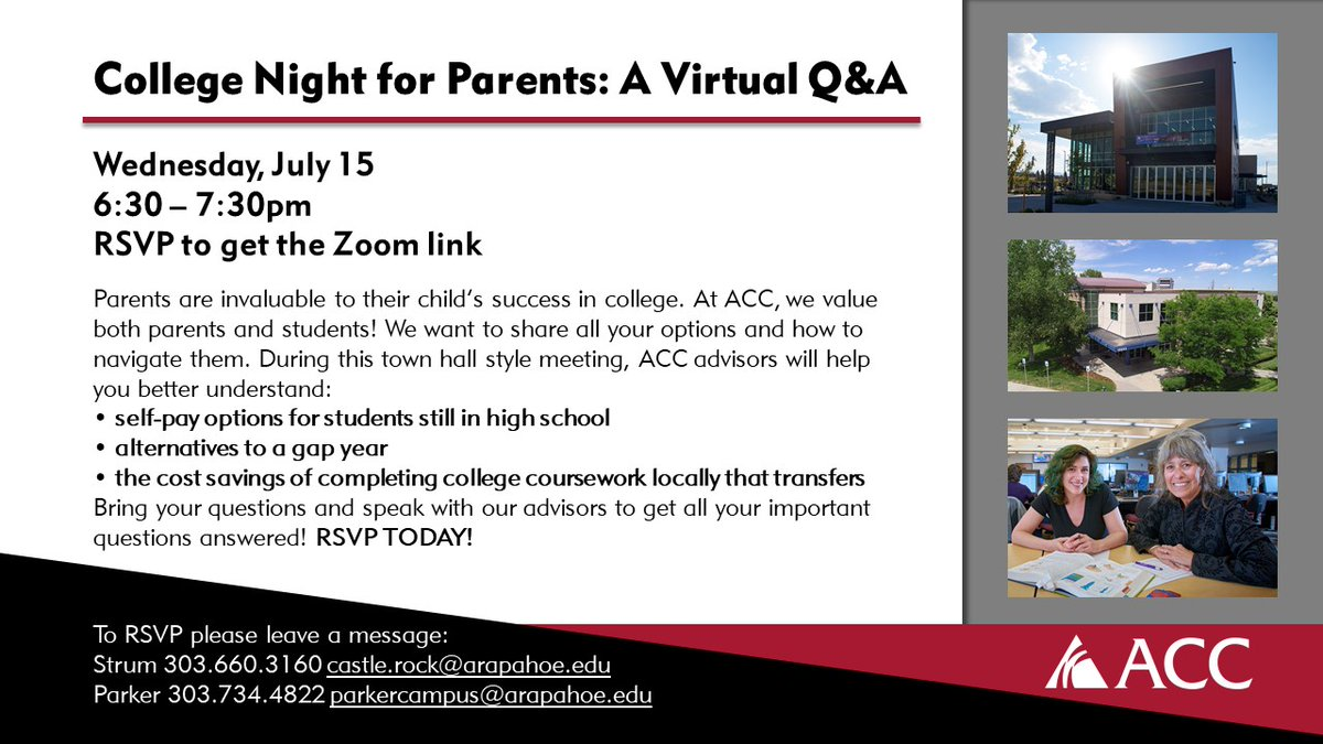 College night for parents! Get all your questions answered. RSVP TODAY! #Classof2020 #Classof2021 #Classof2022 #Classof2023 #Classof2024 #colorado #castlerockcolorado #parkercolorado #coloradoearlycolleges #douglascountycolorado #arapahoecc #sturmcollaborationcampus https://t.co/WbNbr4uhLT