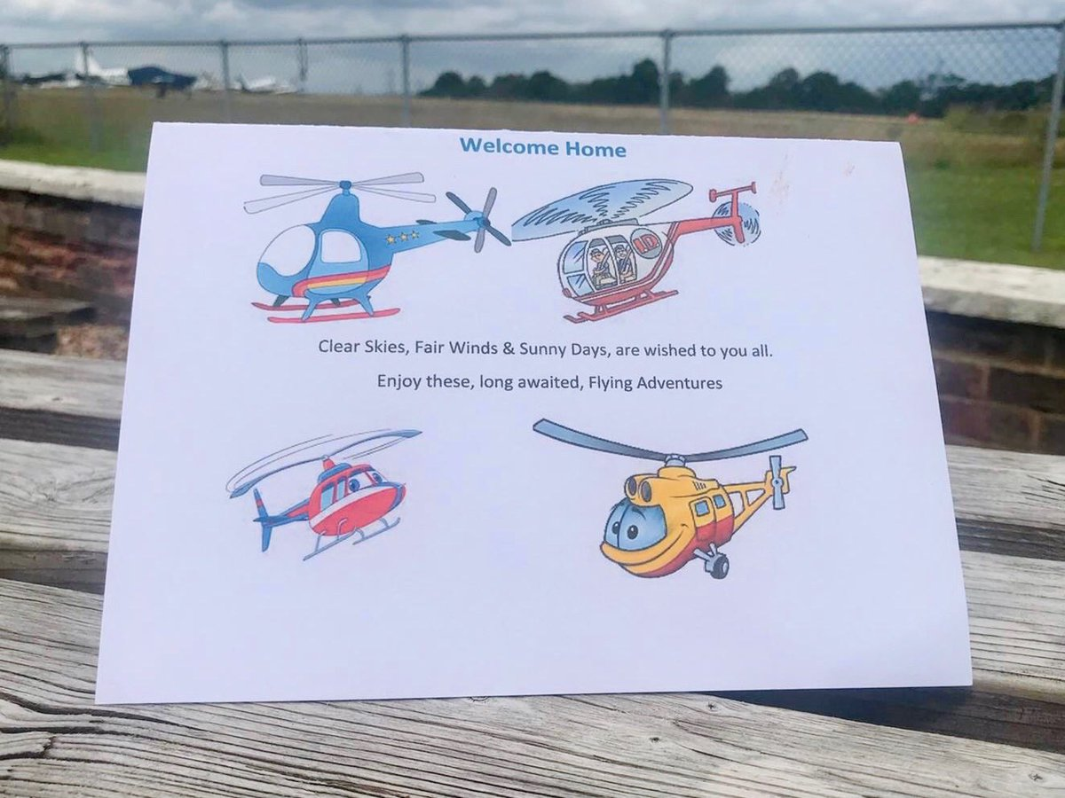 Thank you to student Sue for our welcome home card! It sure is great to be back & we look forward to seeing you in the R22 very soon! 🚁   #thankyou #flyingfamily #card #helicopter #flyingschool #flighttraining #fun #family #livingthdream #backtowork #backtotheflyingschool https://t.co/FVOOVpuvbs