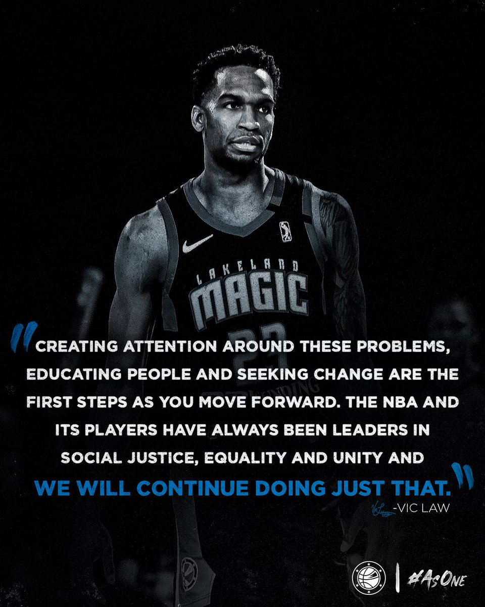 With the @NBA Restart, Vic Law understands the platform he and his teammates have and is committed to making a positive impact.  #NBATogether #NBAVoices https://t.co/jmiFpqu6xc