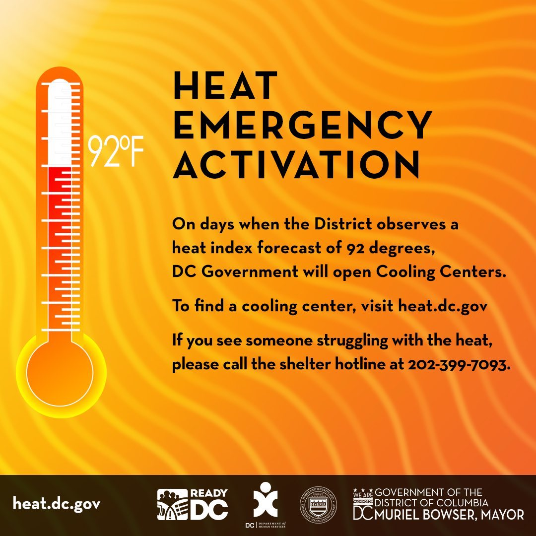 (7/7 11:55AM) A Heat Emergency has been issued for the District of Columbia. Heat index of 97 degrees is expected. Visit bit.ly/DistrictCoolin… to find a cooling center near you. Find tips to beat the heat at ready.dc.gov/extremeheat. #StayCoolDC