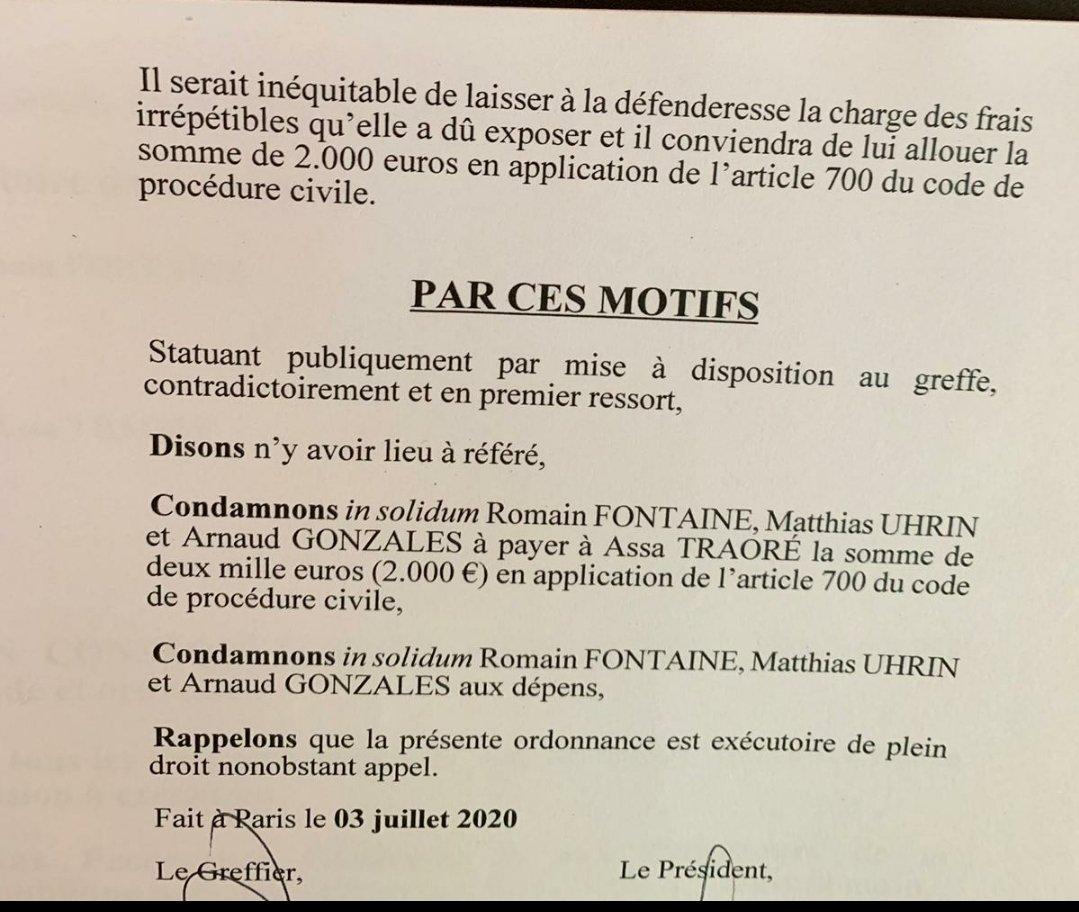 🚨Alerte Les 3 gendarmes Romain FONTAINE, Matthias UHRIN et Arnaud GONZALES, qui ont tué Adama TRAORÉ ont été condamnés à payer 2000€ pour procédure abusive suite à leur action judiciaire contre Assa TRAORÉ pour «atteinte à la présomption d'innocence» des gendarmes. 1/6 https://t.co/IRiOuuzxW6