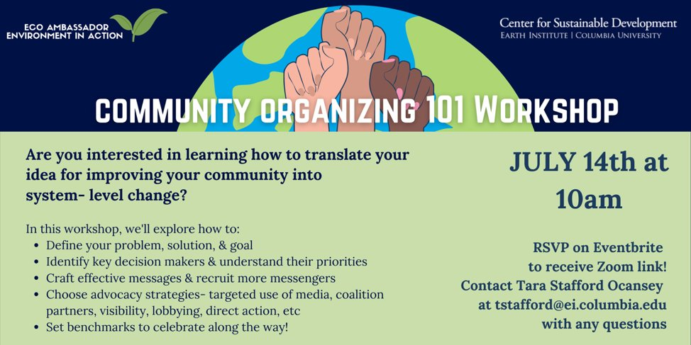 """On July 14, 10am, the Center for Sustainable Development will be hosting an """"Intro to Community Organizing"""" workshop for young people interested in learning how they can take their passion and individual activism to the next level.  https://t.co/ROWHyULSP7 https://t.co/QTMJoQVv48"""