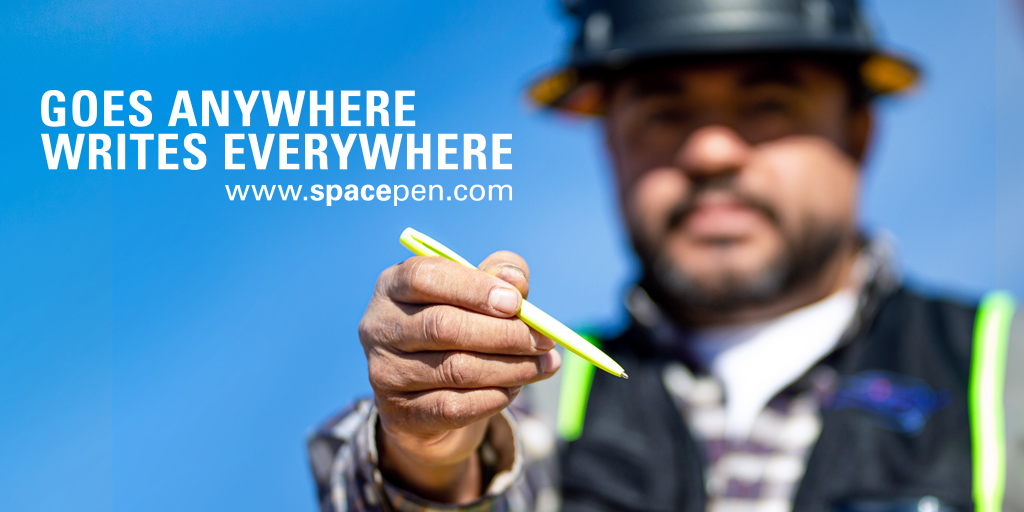 Meet the #Tradesman, the easiest tool to spot on the job site. The construction yellow finish makes this pen visible from 100 feet away!  #FisherSpacePen #Trade #Construction #GoesAnywhereWritesEverywhere https://t.co/JY6FdcJ1FF https://t.co/NQl7Qud91O
