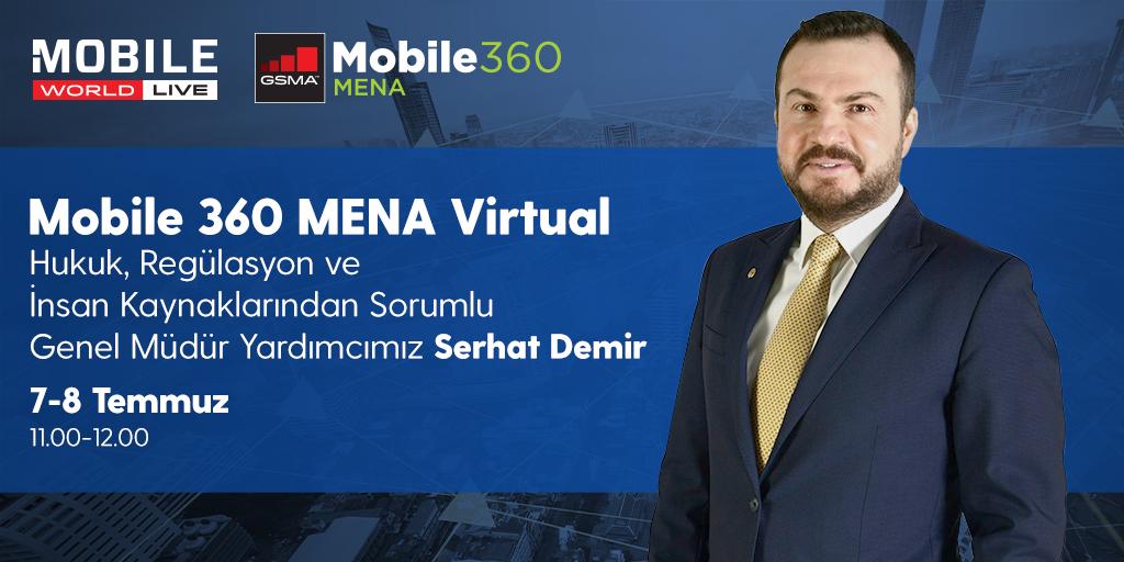 Hukuk, Regülasyon ve İnsan Kaynaklarından Sorumlu Genel Müdür Yardımcımız Serhat Demir, @GSMA tarafından düzenlenen #Mobile360 MENA Virtual'da Covid-19 döneminde Turkcell'de alınan aksiyonları ve görüşlerini paylaşacak. Etkinliğe kayıt olmak için 👉https://t.co/buGjNUl7Qr https://t.co/Vj22UGmP7X