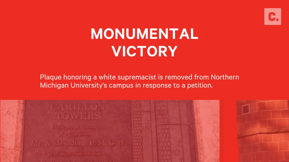 1200 petition signers helped convince a school to remove their plague honoring an apartheid-promoting white supremacist: https://t.co/1t3EIShSWK https://t.co/Hnra7e1ZQb