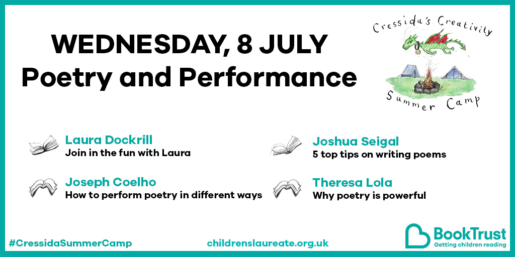 Thank you so much for joining us for #CressidaSummerCamp today - we hope you had a marvellous time, and dont forget to keep sending us your drawings! Tomorrow is all about POETRY - check out the lineup here, and well see you then for lots of fun! 🎶 🙌