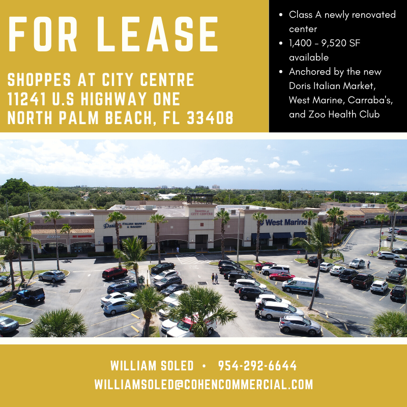 For more information, contact William Soled at 954-292-6644!  #CohenCommercial #CohenCommercialRealty #CCR #soflo #florida #CommercialRealEstate #CRE #RealEstate #brokers #leasing #retail #explore #floridarealestate #northpalmbeach #palmbeachgardens #pbg https://t.co/x2KINGPJyd