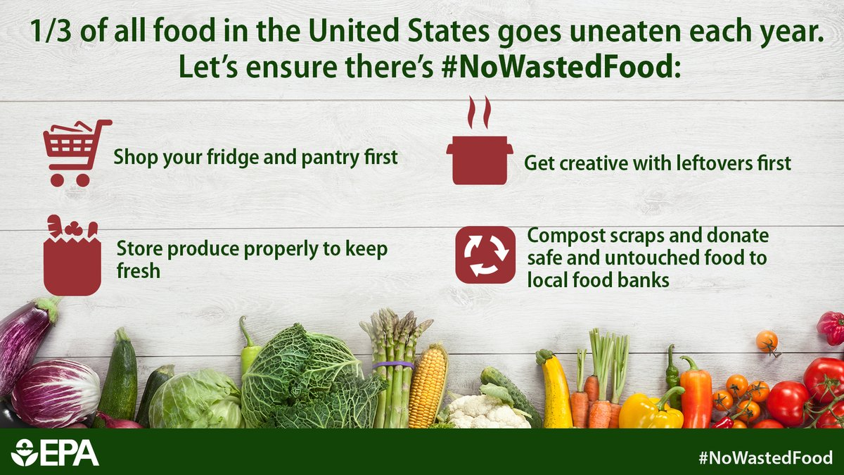 Food is a valuable resource but it's also the single largest type of waste in our daily trash. Americans throw ~38 million tons of food away a year! Wasting food wastes $ and resources, like water. For tools to help plan, use & store food better, go to:  https://t.co/YmjRlmZwMh https://t.co/iiTOwRaRZ1