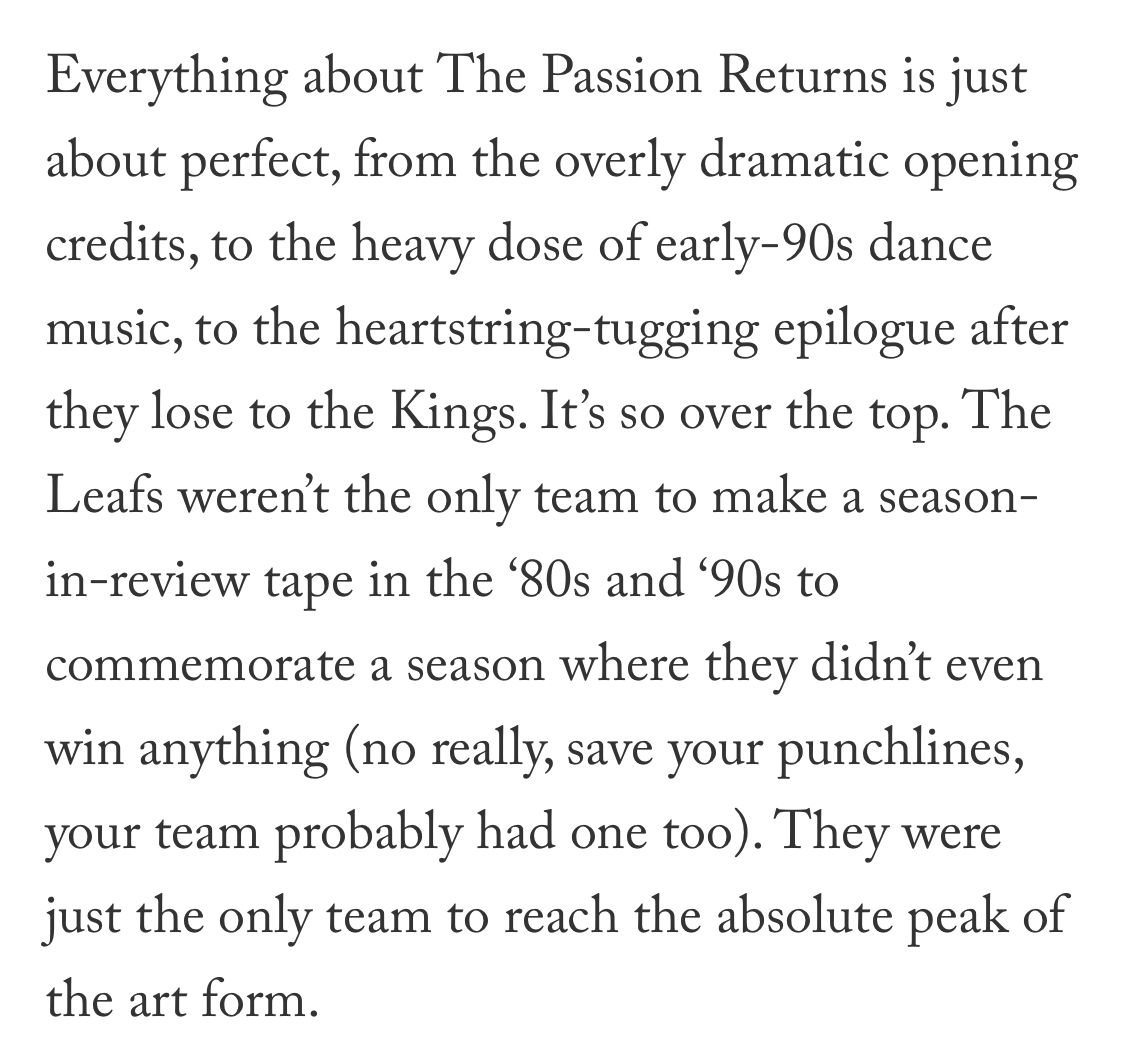 Last time: An oral history of The Passion Returns, the greatest cheesy hockey VHS tape ever made. https://t.co/Y9hgAnfk7d https://t.co/GimA1oEoqY