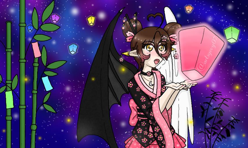 Happy Tanabata today! May your wishes be granted and don't forget to look for the stars Altair and Vega tonight!   HD: https://www.deviantart.com/artsyevy07/art/Tanabata-847971757…  #art #artwork #digitalart #anime #animestyle #animegirl #manga #mangastyle #oc #originalcharacters #tanabata #angel #demonpic.twitter.com/KJyh22JOoj