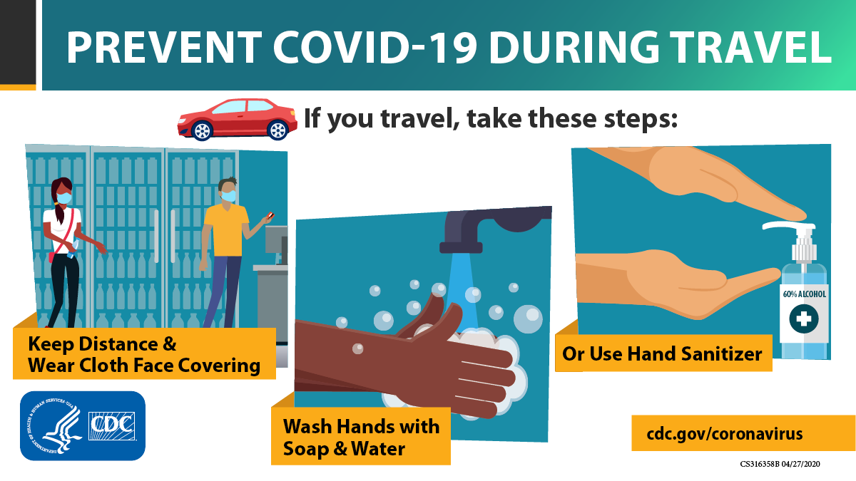 If you travel, take these steps to protect yourself & others from #COVID19 during your trip. bit.ly/2IZicXj