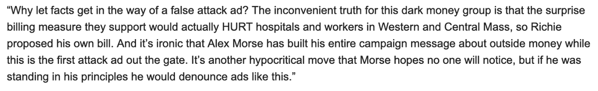 Neal campaign spokesperson Kate Norton responds: The inconvenient truth for this dark money group is that the surprise billing measure they support would actually HURT hospitals and workers in Western and Central Mass, so Richie proposed his own bill. Full statement attached.