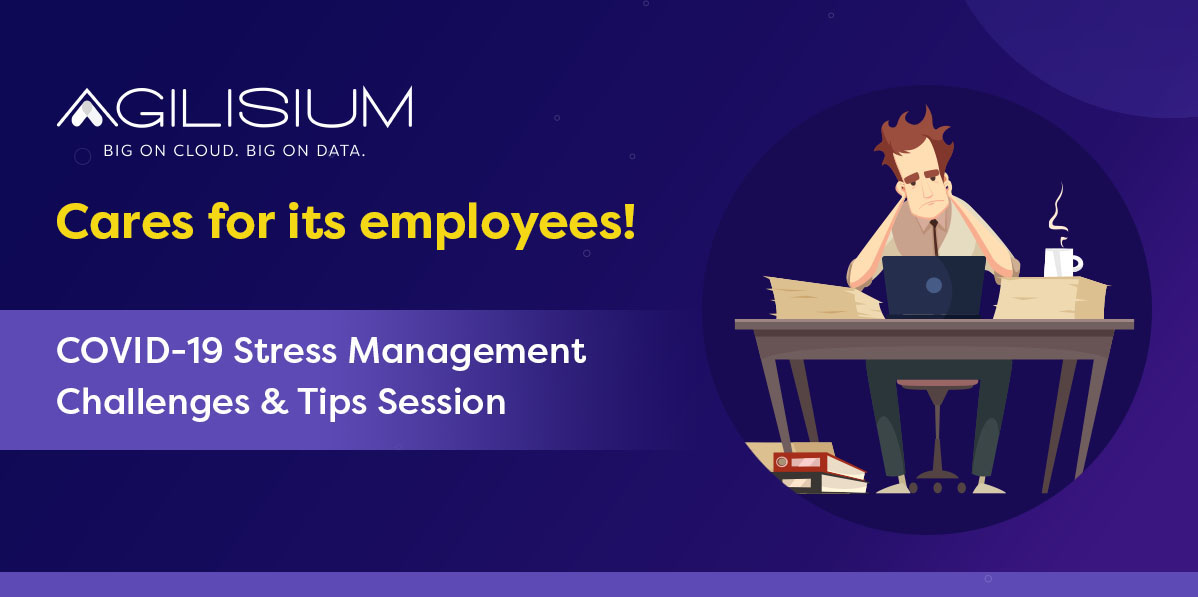 The unprecedented outbreak of #Covid-19 has created chaos in our work life balance. We at Agilisium, never forget to boost our employee's cognitive health. As an initiative we hosted a virtual session on #stressmanagement. #covid19 #worklifebalance #mentalhealthmatters https://t.co/SL1DYAI76T