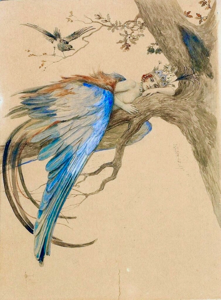 The Sirin of Russian legend by Sergey Solomko (1867-1928) Those who hear her sing forget all on earth. To break the spell, loud noises must be made to scare her away. Some believe that the Sirin is rarely seen as she is as difficult to catch as human happiness. #FairytaleTuesday pic.twitter.com/1Gz1fImk8c
