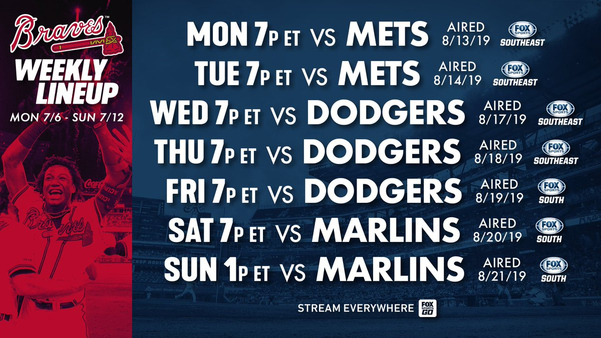 Full slate of @Braves action this week. 🗓️